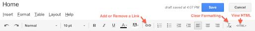 Image: Google Sites Editing Toolbar
