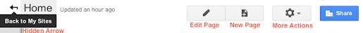 Image: Google Sites Main Toolbar