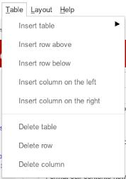 Google Sites Table Menu
